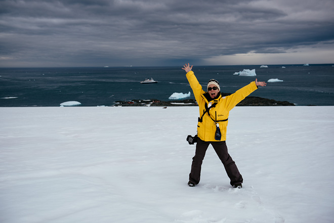 Me wearing two cameras in antarctica